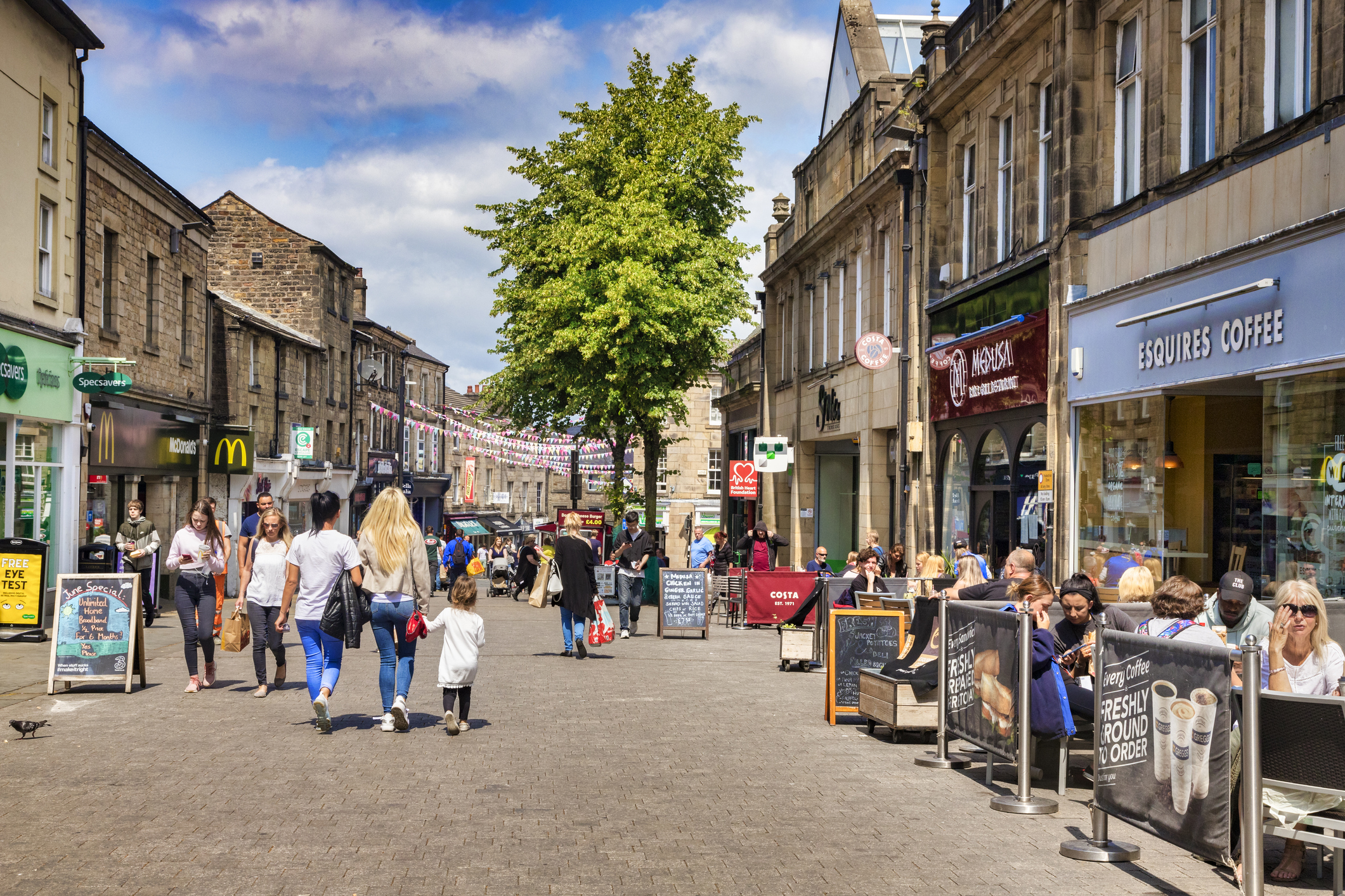Lancaster, UK, Cheapside, the Main Shopping Street, and People