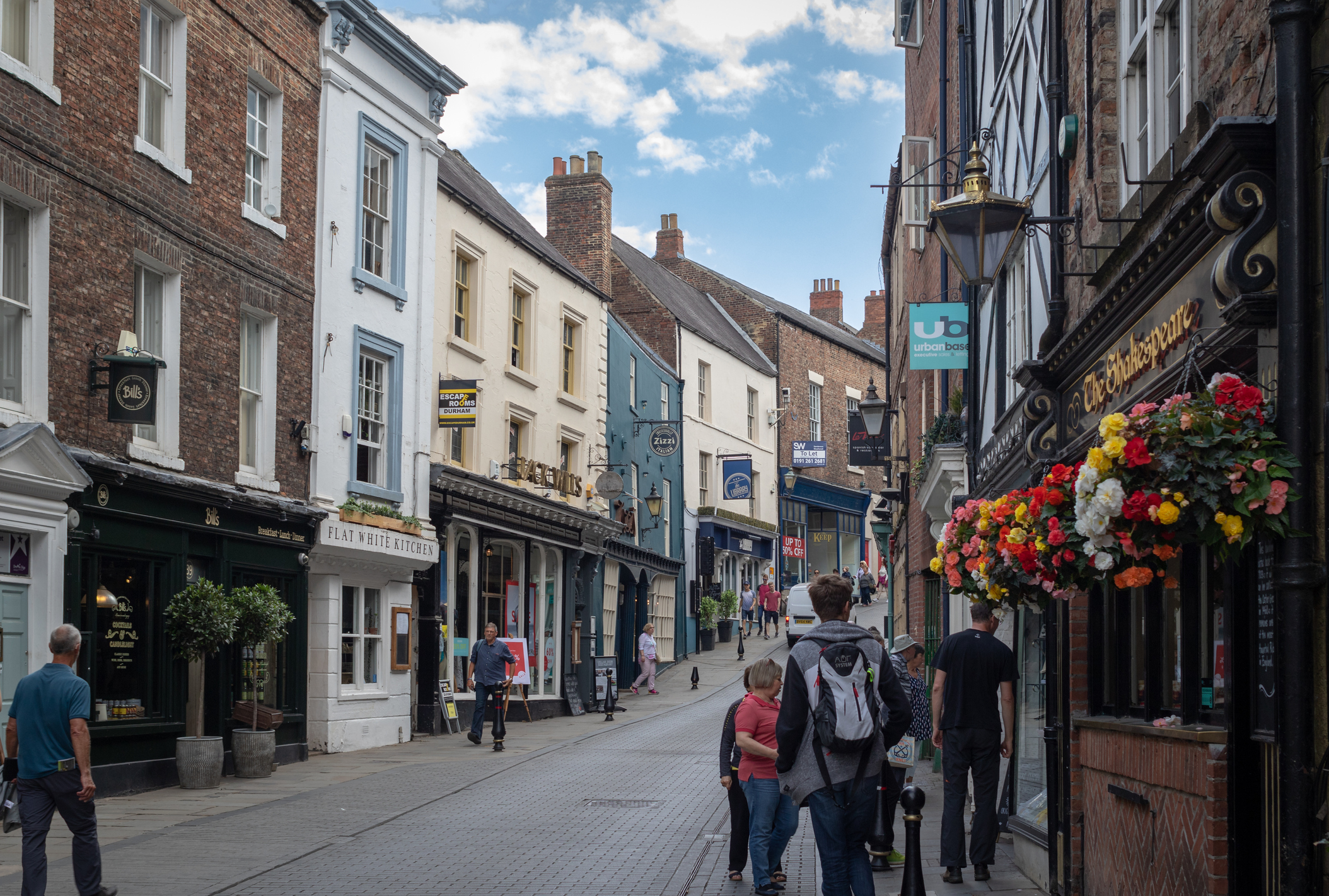 Shopping street in Durham, United Kingdom