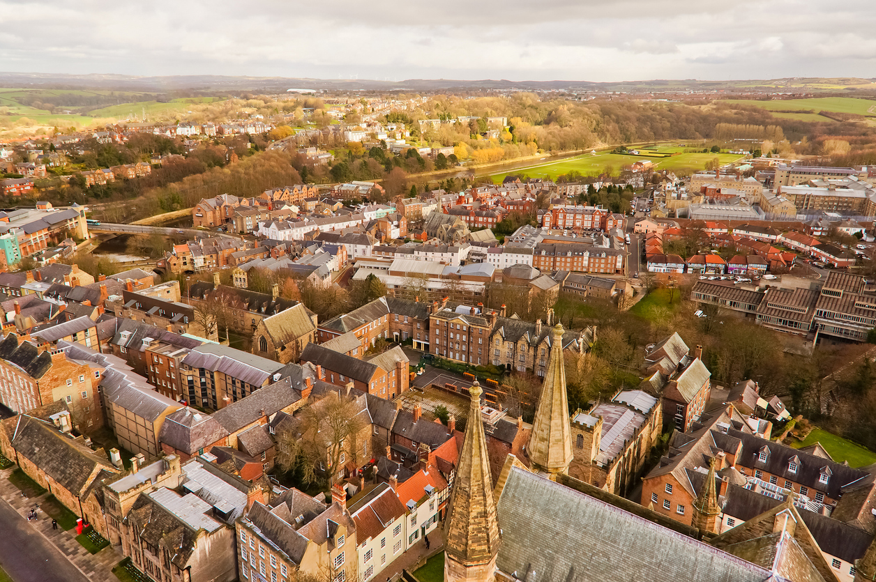 Top view of Durham city, England.