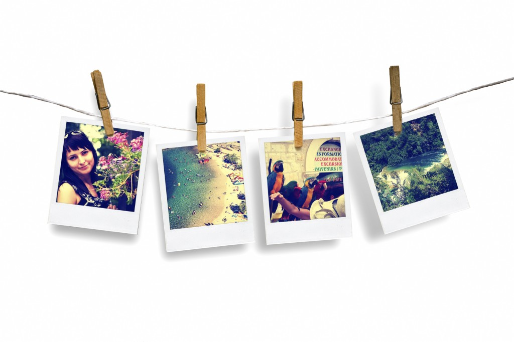 photos of holiday hanging on clothesline with sea